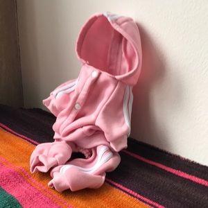 ADidog pink run dmc dog tracksuit